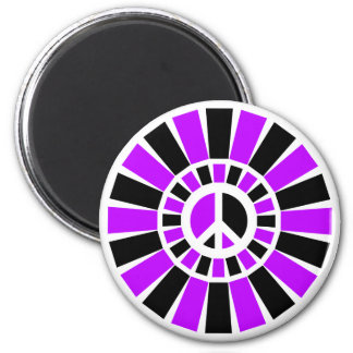 BLACK AND PURPLE PEACE SIGN 2 INCH ROUND MAGNET
