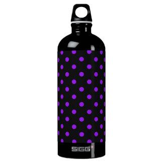 Black and Purple Polka Dot Aluminum Water Bottle