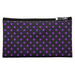 Black and Purple Polka Dot Cosmetics Bags