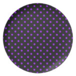 Black and Purple Polka Dot Party Plates