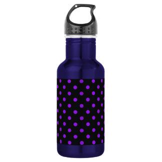 Black and Purple Polka Dot Stainless Steel Water Bottle