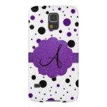 Black and purple polka dots monogram glitter galaxy s5 cover