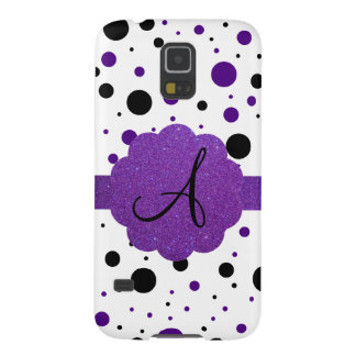 Black and purple polka dots monogram glitter cases for galaxy s5