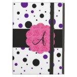 Black and purple polka dots monogram iPad cases