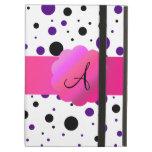 Black and purple polka dots monogram iPad covers