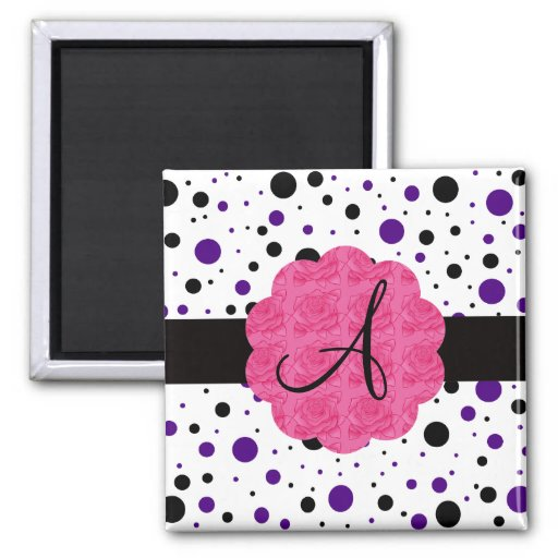 Black and purple polka dots monogram magnets