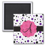 Black and purple polka dots monogram magnets