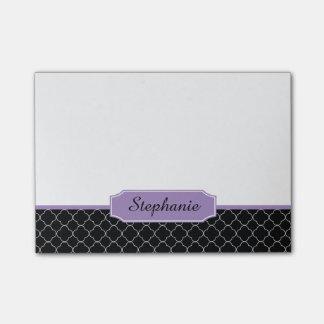 Black and Purple Quatrefoil Monogram Post-it Notes