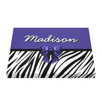 Black and Purple Ribbon Bow Zebra Print