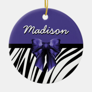 Black and Purple Ribbon Bow Zebra Print Ceramic Ornament
