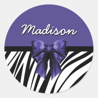 Black and Purple Ribbon Bow Zebra Print Classic Round Sticker