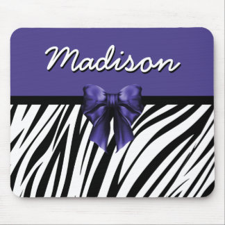 Black and Purple Ribbon Bow Zebra Print Mouse Pad