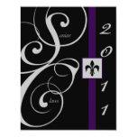 Black and Purple Scroll Ribbon Graduation Invitations