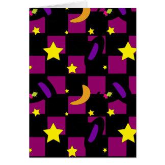 black-and-purple-squairs, Halloween-hats-rep Greeting Card