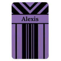 Black and Purple Stripes Chevrons with Your Name Magnet