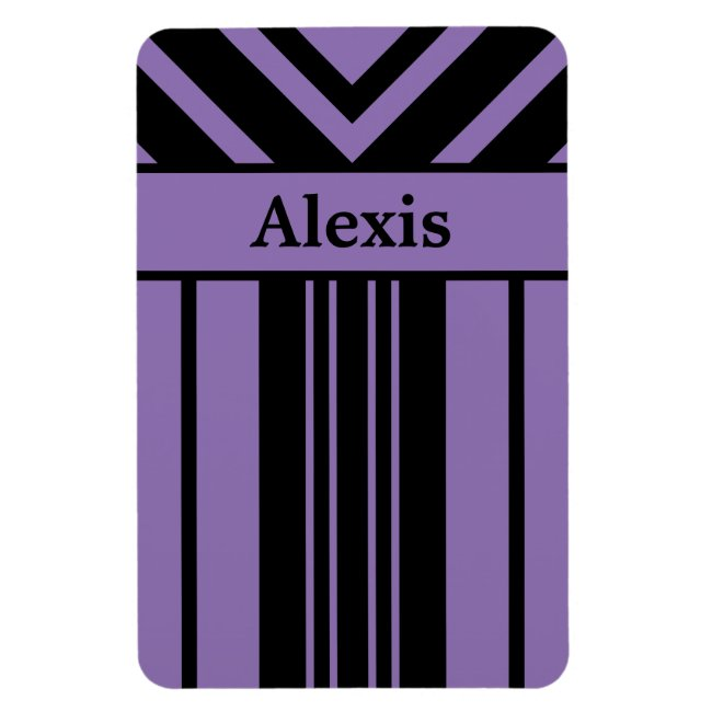 Black and Purple Stripes Chevrons with Your Name
