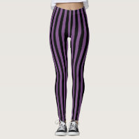 Black And Purple Stripes Vertical Leggings