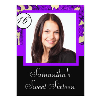 Black and purple sweet sixteen card