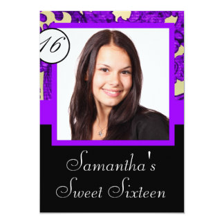 Black and purple sweet sixteen 5x7 paper invitation card