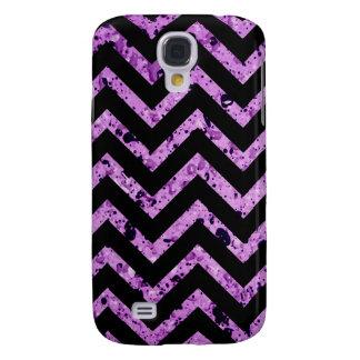 Black and Purple Textured Chevron Galaxy S4 Cover