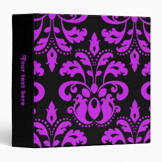 Black and purple victorian vintage damask 3 ring binder