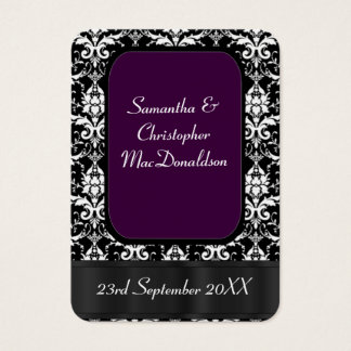 Black, and purple wedding favor thank you tag