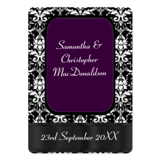 Black, and purple wedding favor thank you tag large business card