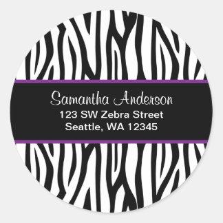 Black and Purple Zebra Custom Address Label