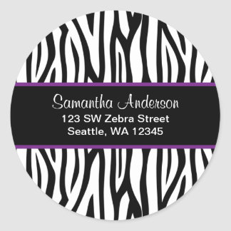 Black and Purple Zebra Custom Address Label Classic Round Sticker