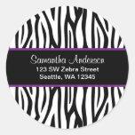 Black and Purple Zebra Custom Address Label Sticker