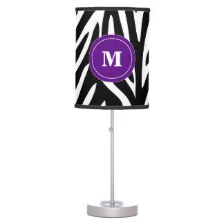 Black and Purple Zebra Monogram Lamp Shade