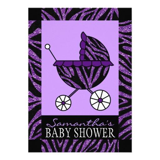 black and purple zebra print baby shower invites zazzle