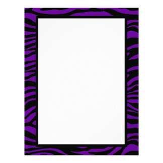 Black and Purple Zebra Print Customized Letterhead