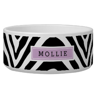 Black and Purple Zebra Print Monogram Bowl
