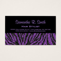 Black And Purple Zebra Professional Business Card at Zazzle