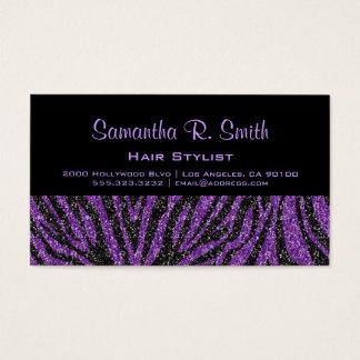 Black and Purple Zebra Professional Business Card