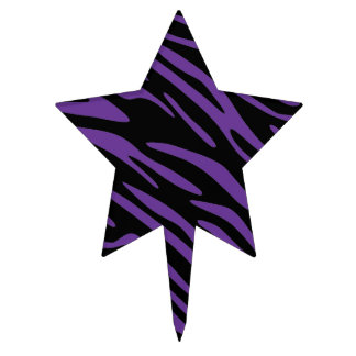 Black and Purple Zebra Stripes Cake Pick Topper