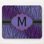 Black and Purple Zebra Stripes Monogram Mouse Pad