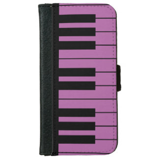 Black and Radiant Orchid Purple Piano Keyboard iPhone 6/6s Wallet Case
