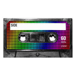 Black and Rainbow Houndstooth Cassette Business Card Template
