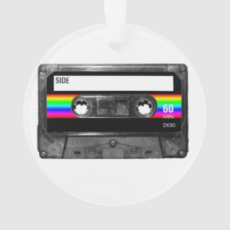 Black and Rainbow Stripe Label Cassette Ornament