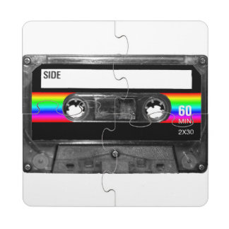 Black and Rainbow Stripe Label Cassette Puzzle Coaster