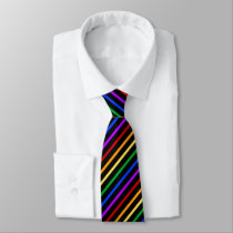 Black and Rainbow Stripes Tie