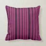 Black And Raspberry Colored Stripe Throw Pillow at Zazzle