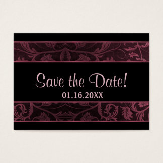 Black and Raspberry Damask -  Save The Date Business Card