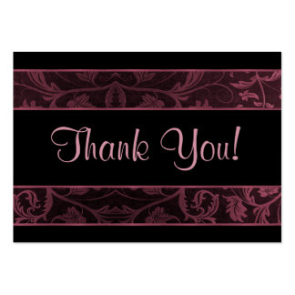 Black and Raspberry Damask - Thank You Large Business Card