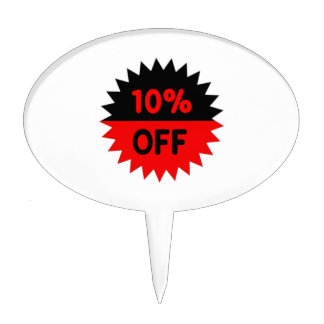 Black and Red 10 Percent Off Cake Picks