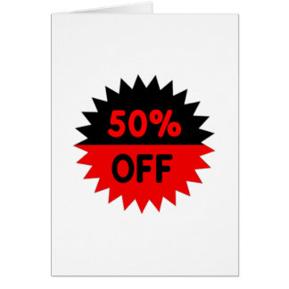 Black and Red 50 Percent Off Card