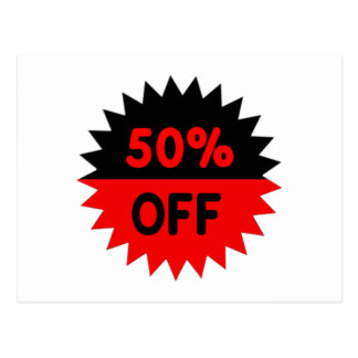 Black and Red 50 Percent Off Postcard