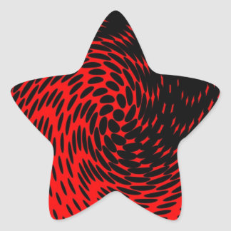 Black and Red Abstract Design Star Sticker